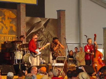 In the Blues Tent at the New Orleans Jazz and Heritage Festival April 2005. Ricky Olivarez, Russ Broussard, James Cotton, and Jeffrey Bridges